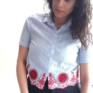 Tops - Blue Striped Blouse | crop top Shirt xs s